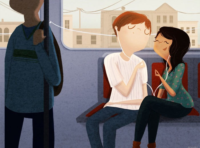 Illustration of couple listening to music together
