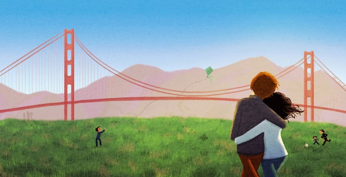 Illustration of couple looking at Golden Gate bridge
