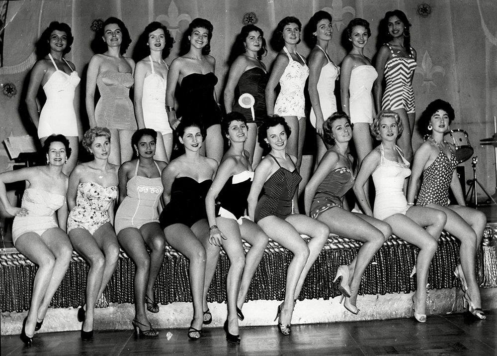 Mandatory Credit: Photo by ANL/REX/Shutterstock (3175072a) Sunday Dispatch Miss World Contest 1955 Contestants On Stage For Names See Versions. Sunday Dispatch Miss World Contest 1955 Contestants On Stage For Names See Versions.
