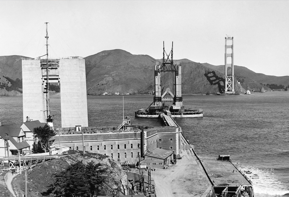 The Golden Gate Bridge under construction with the Pylon #1 and the North and South towers rising above Fort Point, San Francisco, California, April 1935. (Photo by Underwood Archives/Getty Images)