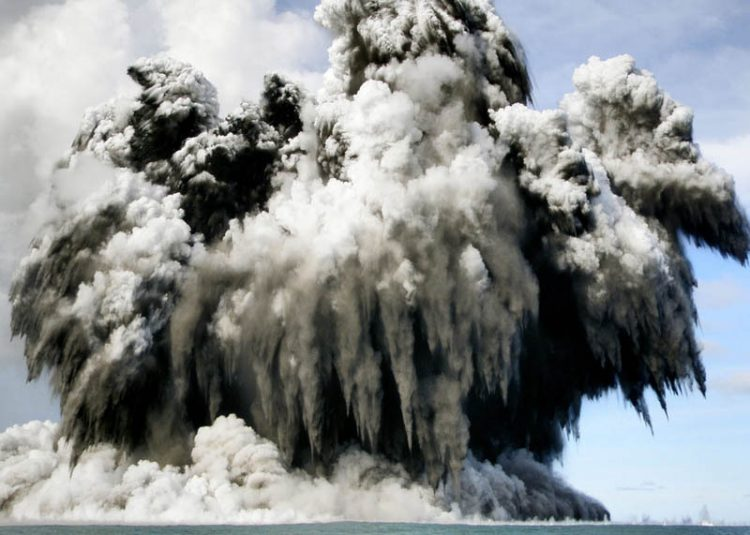 An a undersea volcano erupts off the coast of Tonga, tossing clouds of smoke, steam and ash thousands of feet (meters) into the sky above the South Pacific ocean, Wednesday, March 18, 2009. The eruption was at sea about 6 miles (10 kilometers) from the southwest coast off the main island of Tongatapu, an area where up to 36 undersea volcanoes are clustered. (AP Photo/Lothar Slabon via the New Zealand Herald) ** EDITORIAL USE ONLY, NO ARCHIVE, NO SALES **